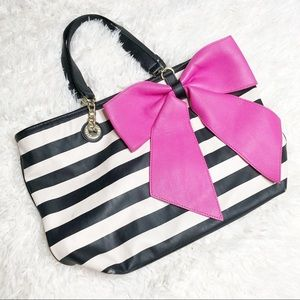 Betsy Johnson Black white stripe pink bow tote bag